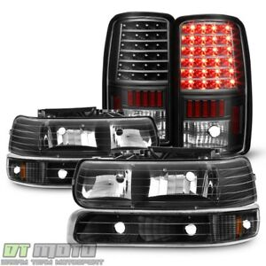 Black 2000 2006 Chevy Suburban 1500 2500 Tahoe Headlights led Tail Lights Lamps