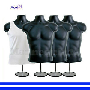 4 Male Torso Dress Mannequins In Black W 4 Stands 4 Hangers Men Dress Forms