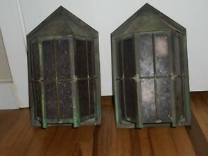 Antique Arts Crafts Bungalow Mission Porch Hanging Light Fixture Sconces Rare