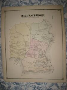 Antique 1874 Old Saybrook Middlesex County Connecticut Map W New