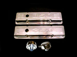 Small Block Chevy Tall 3 5 8 Baffled Chrome Valve Covers 350 Logo Breather Pcv