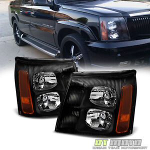 Black 2003 2006 Cadillac Escalade Headlights Lights 03 04 05 06 Hid Model Only