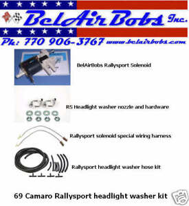 1969 Camaro Rallysport Complete Headlight Washer Kit