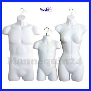 Male Female Child Torso Mannequin Set 3 White Hanging Dress Body Forms