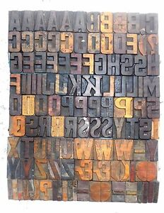 112 Piece Vintage Letterpress Wood Wooden Type Printing Blocks 50 M m bc 1870