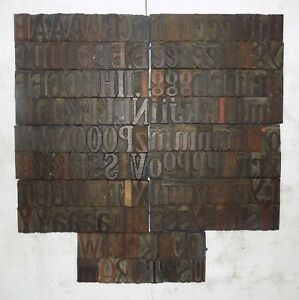 162 Piece Vintage Letterpress Wood Wooden Type Printing Blocks 67 M m bc 3018