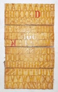 119 Piece Vintage Letterpress Wood Wooden Type Printing Blocks 49 M m bc 2016
