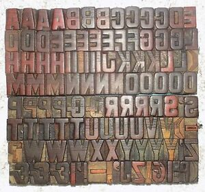 111 Piece Vintage Letterpress Wood Wooden Type Printing Blocks 25 M m bc 2043