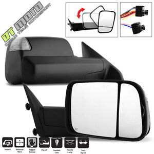 Set 2013 2017 Dodge Ram 1500 2500 3500 Power Heated Led Signal Puddle Tow Mirror