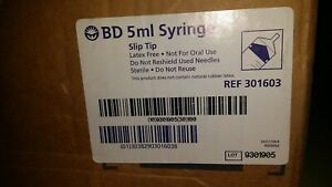 Nib 100 Bd 301603 5ml Slip Tip Syringes Medical Nurse Training Veterinary Doctor