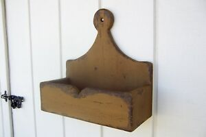 Primitive Rustic Painted Sconce Shelf Wall Candle Mail Lollipop Salt Box Holder