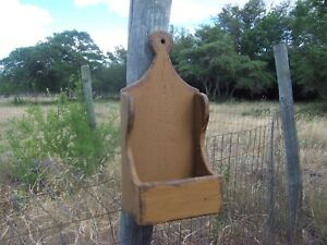 Primitive Rustic Shelf Country Wall Candle Salt Box Sconce Mail Sconce Holder