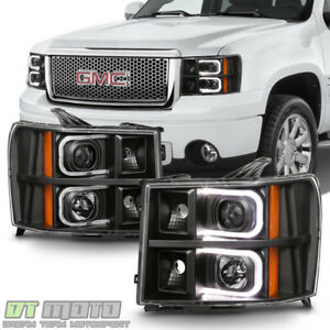 Blk 2007 2013 Gmc Sierra 1500 2500 3500 Led Optic Projector Headlights Headlamps Fits More Than One Vehicle