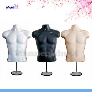 3 Male Mannequin Torsos Set white Flesh Black Dress Forms 3 Stands 3 Hangers