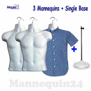 3 Pack Male Torso Mannequin Dress Forms W 3 Hangers 1 Stand
