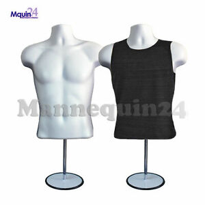 2 Pack Male Mannequin Form Hanger Stand White Body Dress Form For T Shirt