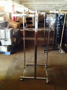4 Way Quad Racks Used Clothing Store Fixture Large Chrome Silver Rolling Display