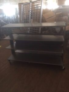 Tier Tables Gray Industrial Upscale Displays Used Rolling Clothing Store Fixture