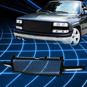 For 99 06 Chevy Silverado tahoe Gloss Black Mesh Front Upper Bumper Grille Guard