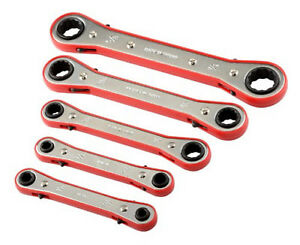 5pc Metric Standard Size Box Closed End Gear Ratchet Ratcheting Wrench Tool Set