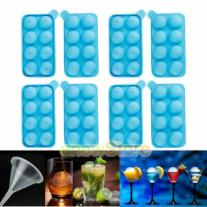 4 Set 8 PCS Round Silicon Ice Cube Balls Maker Tray 8 Large Sphere Molds Bar US
