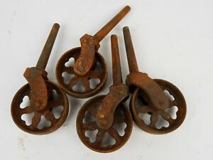 Set 4 Industrial Cast Iron Caster Wheels Clover Pattern Rustic W 2 75 Wheels