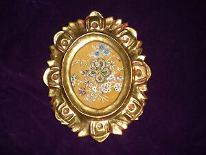 Beaded Floral Embroidery Needlework In Ornate Gilt Frame
