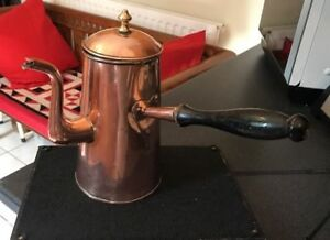 Georgian Victorian Antique English Copper Coffee Chocolate Side Pour Pot B