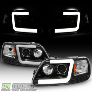 Blk 1997 2003 Ford F150 97 02 Expedition Led Tube Projector Headlights Headlamps