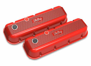 Holley 241 303 Bbc Vintage Series Finned Valve Covers Holley Red Machined F