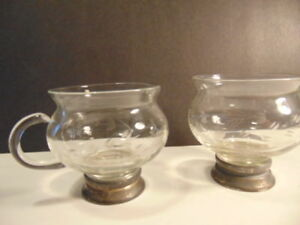 Vintage Cut Glass Sugar Bowl And Cream Pitcher With Sterling Silver On Bases