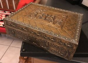 Antique Vintage Deco Brass Repousse Sewing Box Jewel Box Casket Hunting Scene
