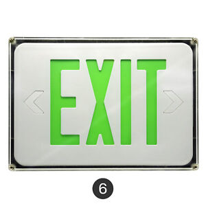 6 Pack Led Exit Sign Emergency Light Green Letters Ceiling Or Wall Mounting