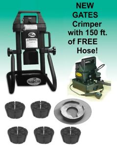 Gates Hydraulic Hose Crimper 4 20 5 Dies Electric Pump Portable Adjustable B