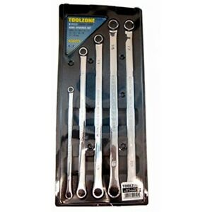 5pc Long Flat Ring Spanners Metric Cromo Extra Spanner Set Toolzone Piece 8