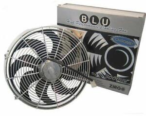 14 Inch Zirgo Blu Chrome Electric S blade Radiator Cooling Fan 2122 Cfm