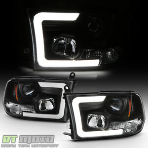 Black 2009 2018 Dodge Ram 1500 2500 3500 Led Tube Projector Headlights Headlamps