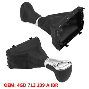 Automatic Leather Gear Shift Stick Knob Gaiter Boot Dust Cover For Audi A6 12 15