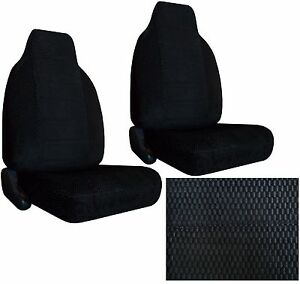 Durable Scottsdale Fabric 2 Black High Back Bucket Car Seat Covers Sc 906 Chvy