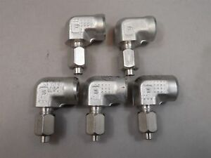 Lot Of 5 Parker Fitting Elbow Tube To 1 4 Npt