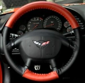 Red Black Corvette Steering Wheel Cover Euro Style Two Tone 1997 2004 C5