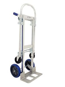 Rwm Casters Aluminum Convertible Hand Truck With Loop Handle Rubber Wheels