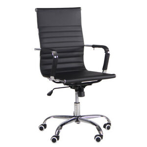 Executive Office Pu Leather High back Computer Desk Seat Swivel Task Chair Black