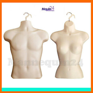2 Mannequins Male Female Torso Forms In Flesh Hard Plastic W Hangers