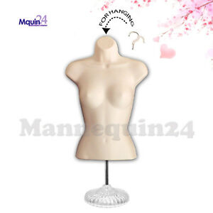 Female Torso Mannequin In Flesh Stand Hanging Hook Women Dress Body Forms