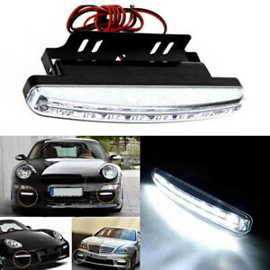 2pcs 8 Led Daytime Running Light Fog Signal Lamp Waterproof 6000k Car Accessory