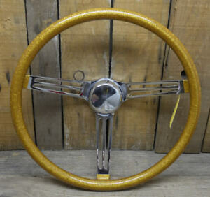 Vtg Style 15 Gold Metalflake Steering Wheel Hot Rod Custom Gasser Rat Boat Vw