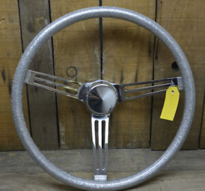 Vtg Style 15 Silver Metalflake Steering Wheel Hot Rod Custom Gasser Rat Boat Vw