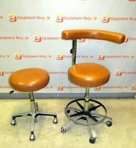 Del Tube Vintage Medical Dental Assistant Chair Stool Set Adjustable Ratchet
