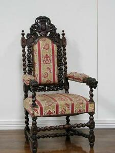1106088 1 Large Antique French Carved Oak Hunt Style Arm Chair